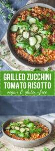 A Creamy Grilled Zucchini Tomato Risotto for a light summer dinner! Vegan & Gluten-Free. | www.vibrantplate.com