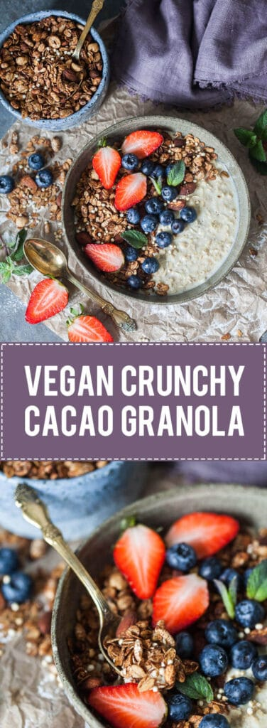 This delicious Vegan Crunchy Cacao Granola is going to become your go-to breakfast!   www.vibrantplate.com