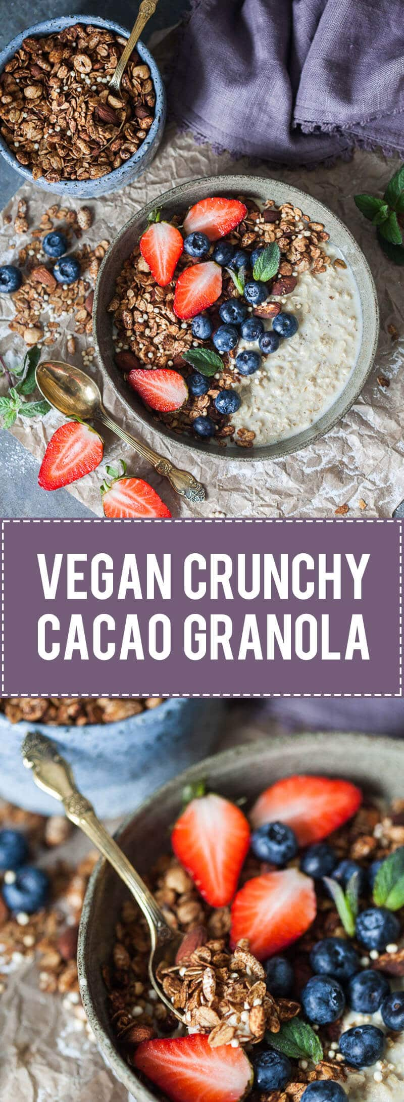 This delicious Vegan Crunchy Cacao Granola is going to become your go-to breakfast! | www.vibrantplate.com