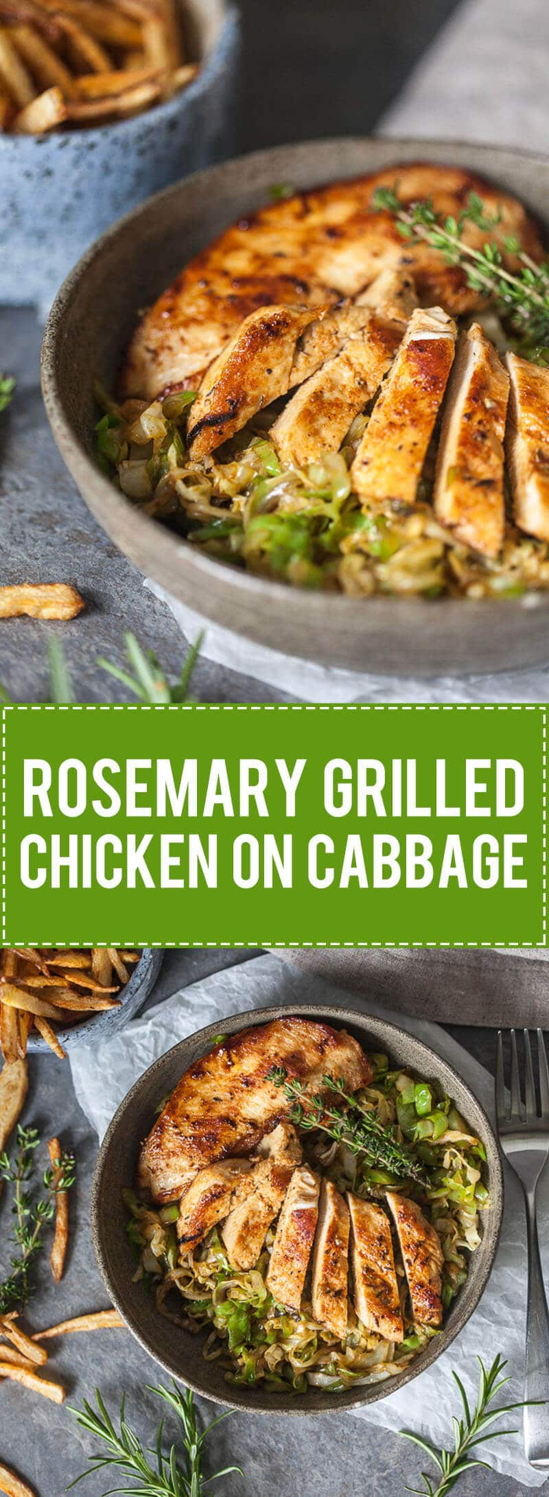 An easy summer dinner, this Rosemary Grilled Chicken on Cabbage is delicious, gluten-free and dairy-free. | www.vibrantplate.com