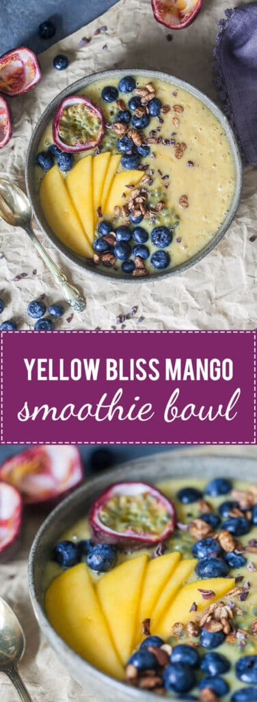 This easy & delicious Mango Smoothie Bowl is a yellow bliss tropical heaven in a bowl! | www.vibrantplate.com