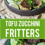 Tofu Zucchini Fritters with Peanut Sauce is the perfect way to use up all those zucchinis. | www.vibrantplate.com
