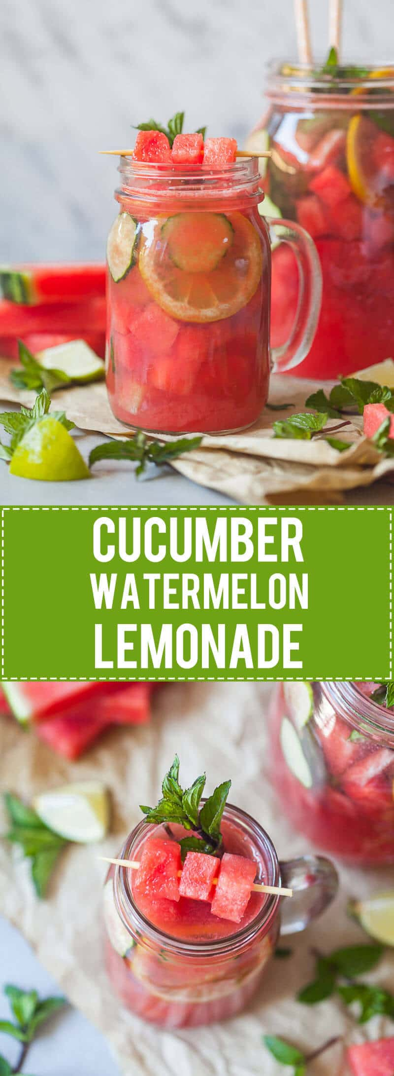 A healthy and refreshing Summer Cucumber Watermelon Lemonade with Mint and no added sugars! | www.vibrantplate.com