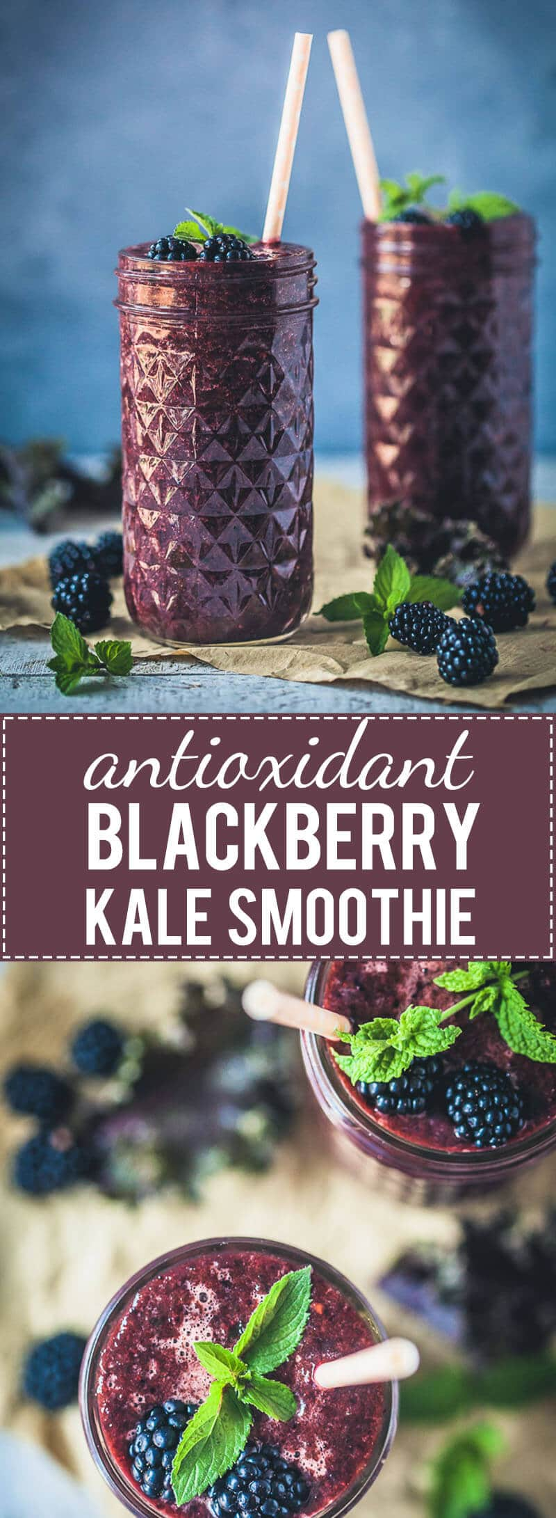 A quick and healthy drink, this Blackberry Kale Smoothie is packed full of vitamins and antioxidants, low-carb and vegan! #kalesmoohie