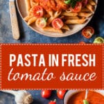 The recipe for this Dairy-Free and Vegan Pasta in Fresh Tomato Sauce is quick and easy, just perfect for a lazy summer day. | www.vibrantplate.com