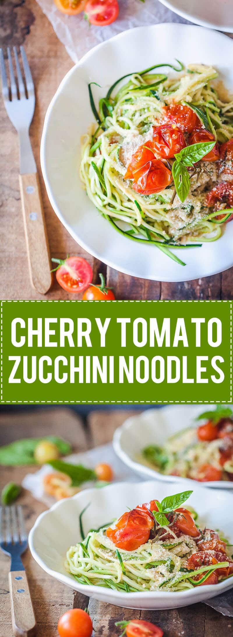 Low-Carb Cherry Tomato Zucchini Noodles are a light & delicious vegan meal with tons of flavor.