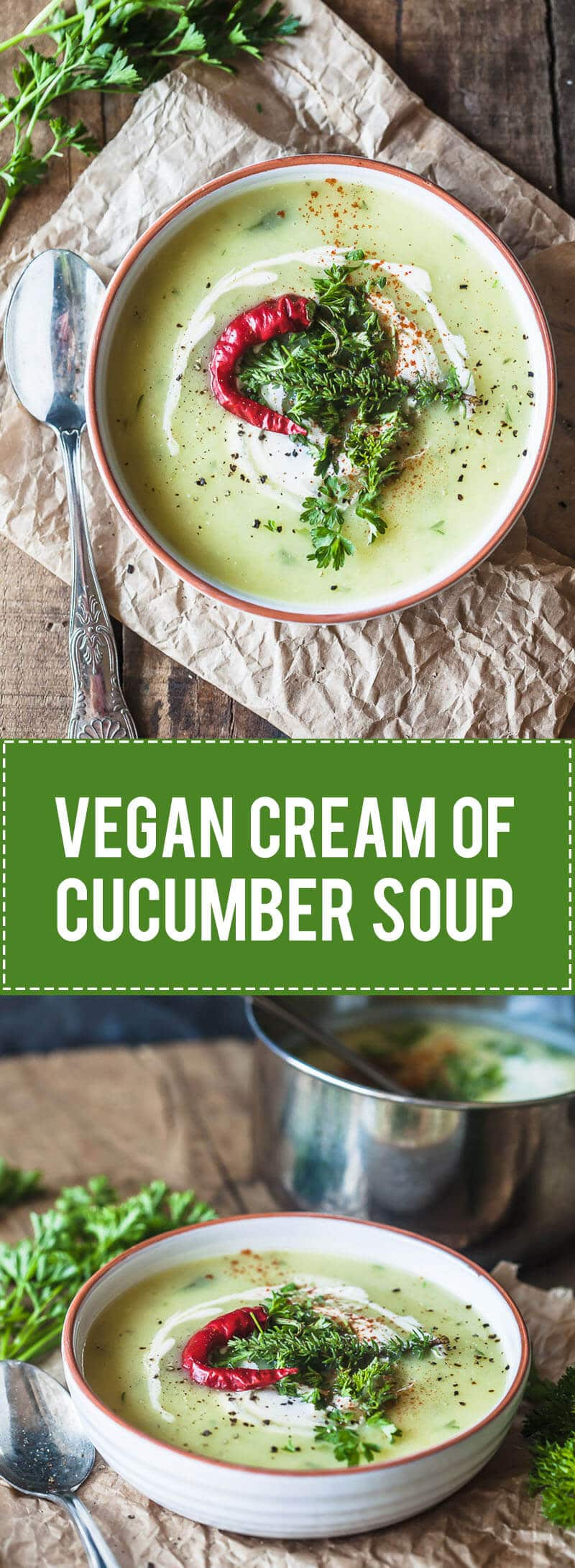 Cream of Cucumber Soup is a healthy and easy Vegan Soup. Creamy and delicious, this soup is best served hot.