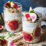 An easy and delicious breakfast, this Almond Milk Fig Chia Pudding is pretty, vegan and with no added sugars! | www.vibrantplate.com