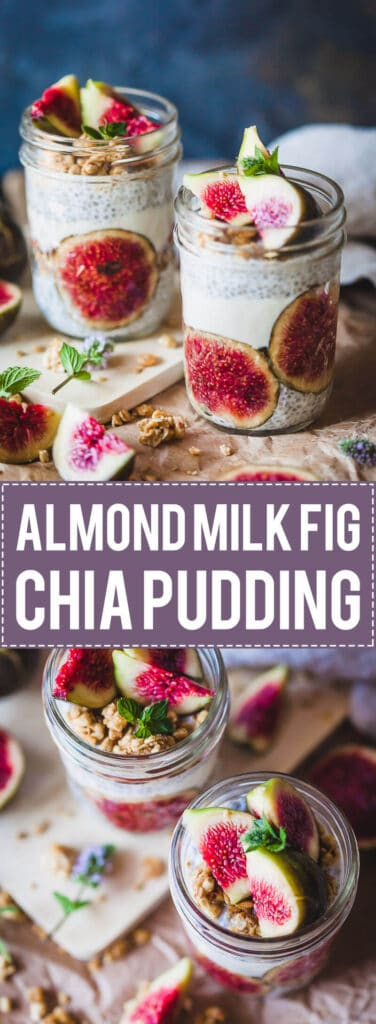 An easy and delicious breakfast, this Almond Milk Fig Chia Pudding is pretty, vegan and with no added sugars!   www.vibrantplate.com