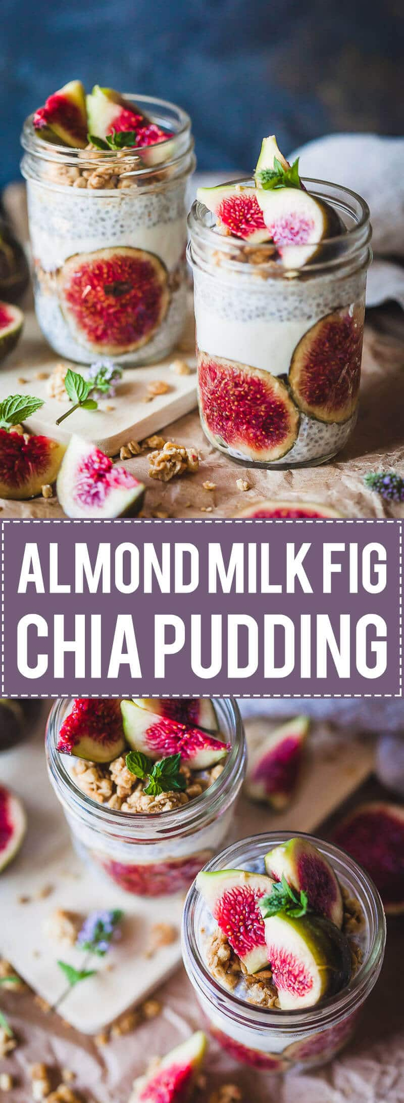 Almond Milk Fig Chia Pudding is pretty, vegan and with no added sugars! An easy and delicious breakfast. #chiapudding #chia