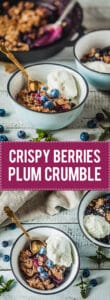 Crispy Berries and Plum Crumble is an easy and delicious vegan dessert that makes excellent use of fruit you have rolling around. | Vibrant Plate