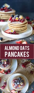 The Softest Almond Oats Pancakes are super easy to make, right in your food processor. Super soft, delicious and dairy-free! | Vibrant Plate