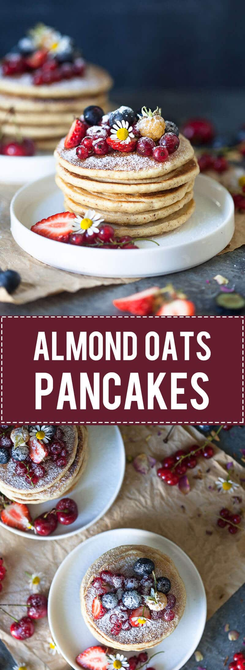 The Softest Almond Oats Pancakes are super easy to make, right in your food processor. Super soft, delicious and dairy-free!
