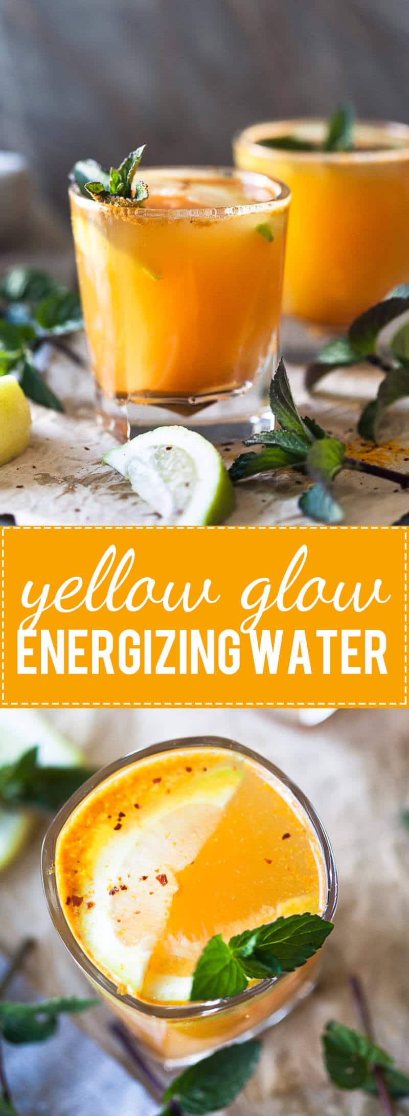 Yellow Glow Energizing Water with Turmeric, Ginger, Cinnamon, and Chili to help boost your immune system.