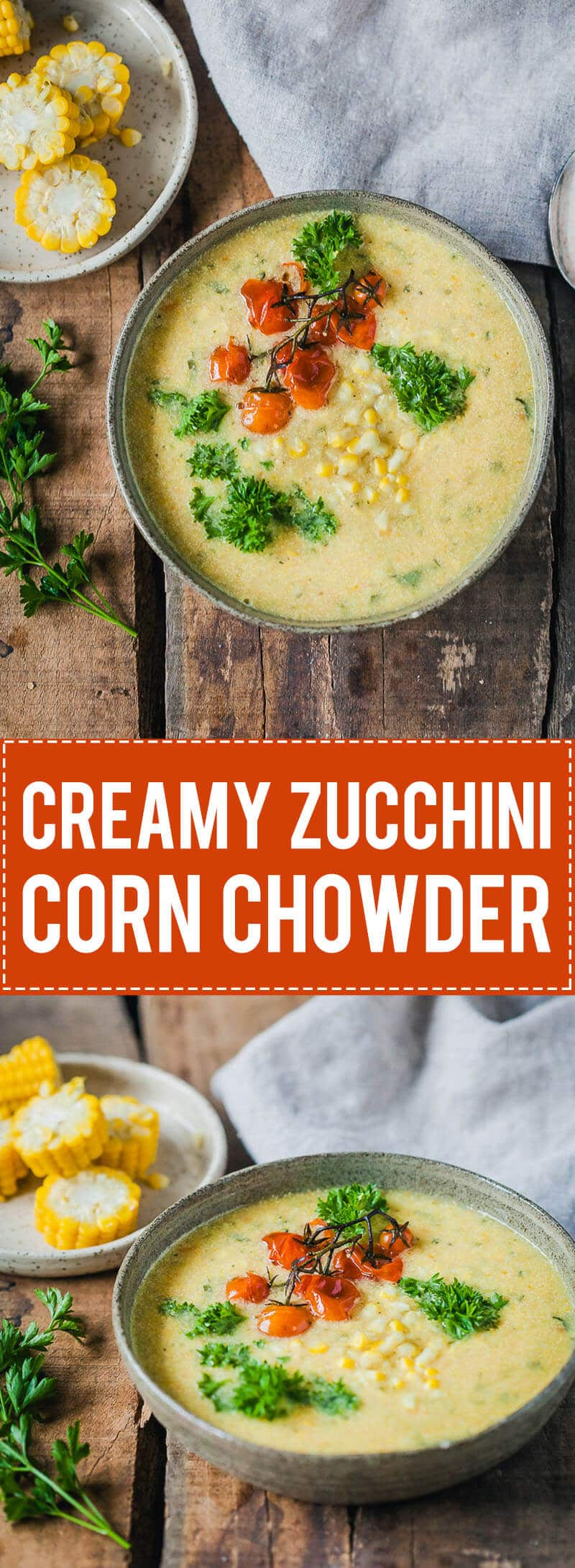 This Zucchini Corn Chowder is packed full of veggies, creamy and filling. And it's vegan and gluten-free!   Vibrant Plate