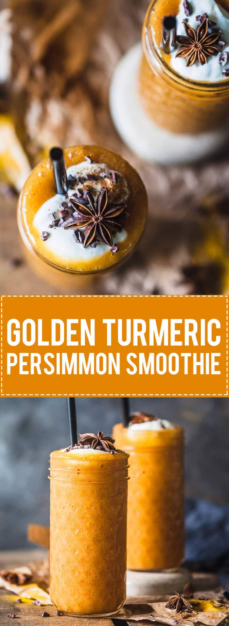 This beautiful golden Turmeric Persimmon Smoothie is your ultimate Fall smoothie! Vegan, Easy & Delicious!