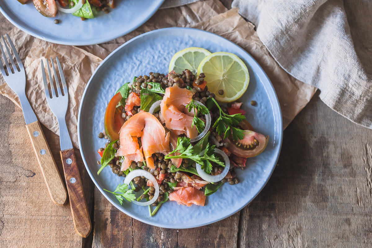 Low-Carb Smoked Salmon Lentil Salad