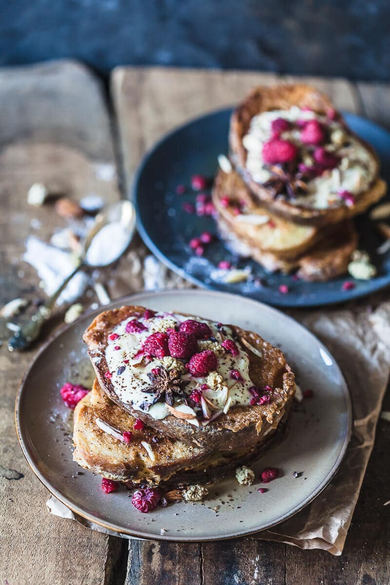 Dairy-Free Sourdough French Toast is the perfect and delicious way to use up stale sourdough bread.   Vibrant Plate