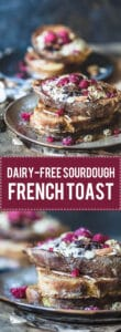 Dairy-Free Sourdough French Toast is the perfect and delicious way to use up stale sourdough bread. | Vibrant Plate