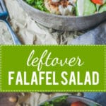 Leftover Falafel Salad with Lemon Tahini Dressing is an easy 30-minute meal using leftover falafel patties. Vegan & Delicious! | Vibrant Plate