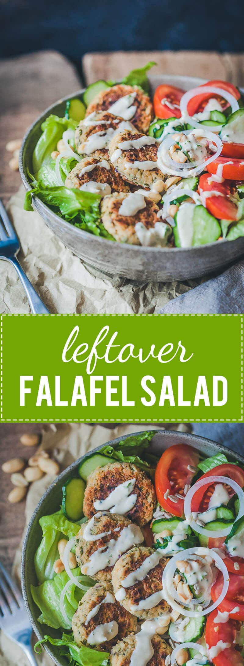 Leftover Falafel Salad with Lemon Tahini Dressing is an easy 30-minute meal using leftover falafel patties. Vegan & Delicious!