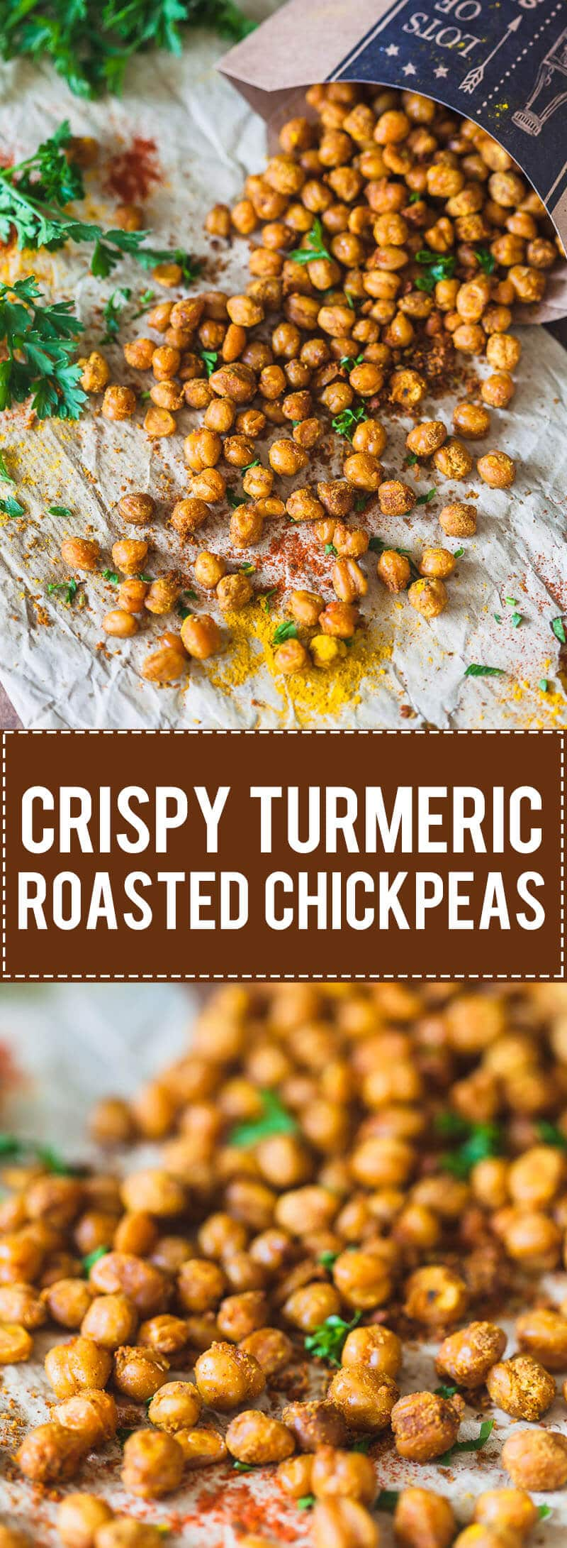 Crispy Turmeric Roasted Chickpeas (Garbanzo Beans) are a great Vegan & Gluten-Free healthy snack or delicious salad topping.