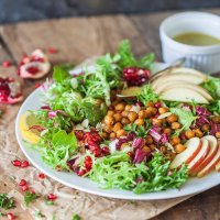 Fall Abundance Endive Salad with Crispy Chickpeas
