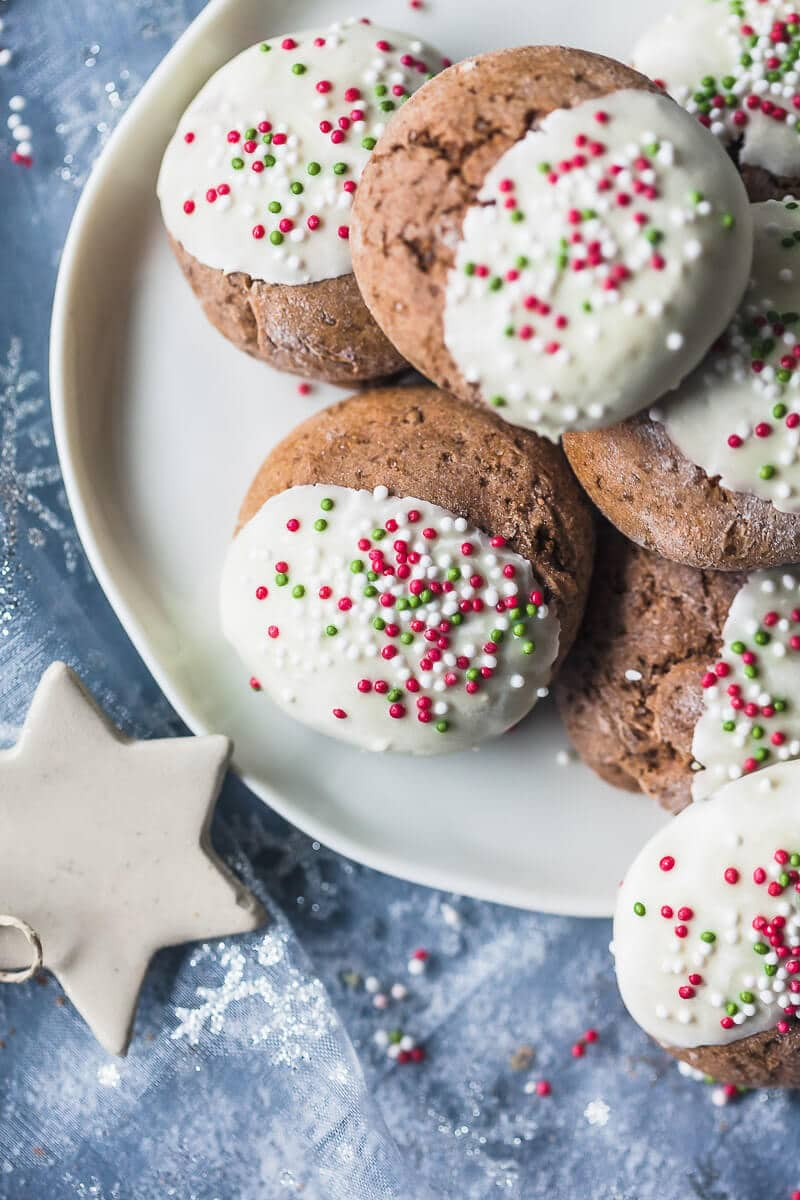 These Soft Gingerbread Cookies with White Chocolate are just the perfect holiday treat! Dairy-free & Delicious! | Vibrant Plate