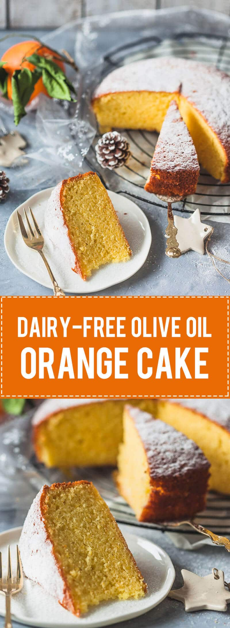 A simple and delicious dairy-free Olive Oil Orange Cake is light and fluffy with a strong orange flavor.