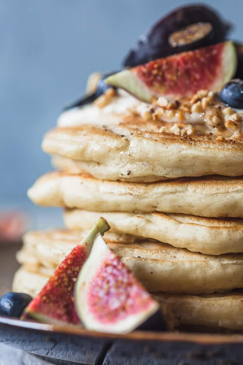 Delicious and Fluffy Yogurt Pancakes are a perfect start to your day. These pancakes are dairy-free! | Vibrant Plate