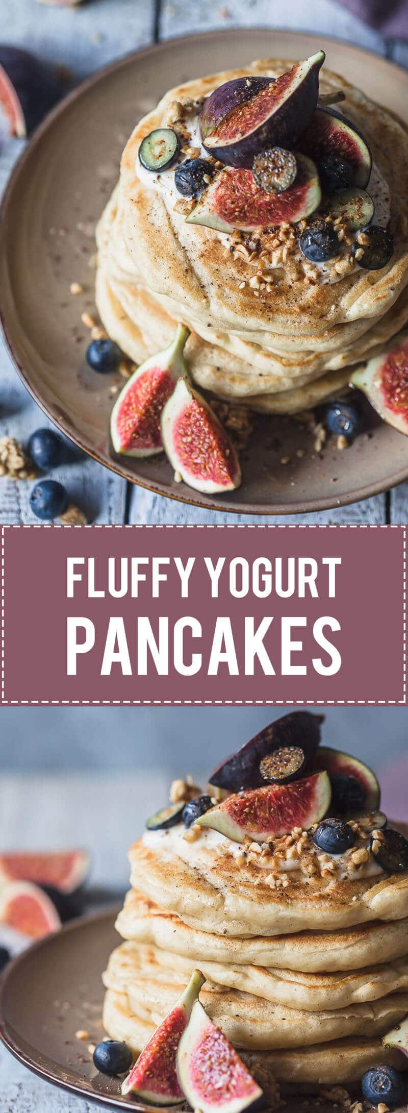 Delicious and Fluffy Yogurt Pancakes are a perfect start to your day. These pancakes are dairy-free! #pancakes #figs #breakfast