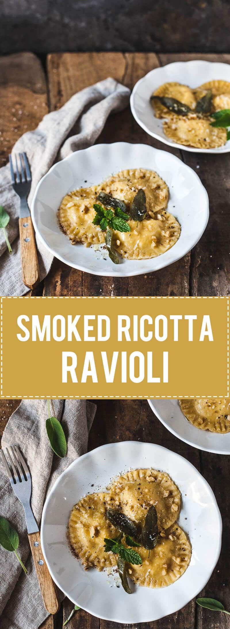 Homemade pasta? This Smoked Ricotta Ravioli in Sage Butter Sauce is a breeze to make, vegetarian and delicious! | Vibrant Plate