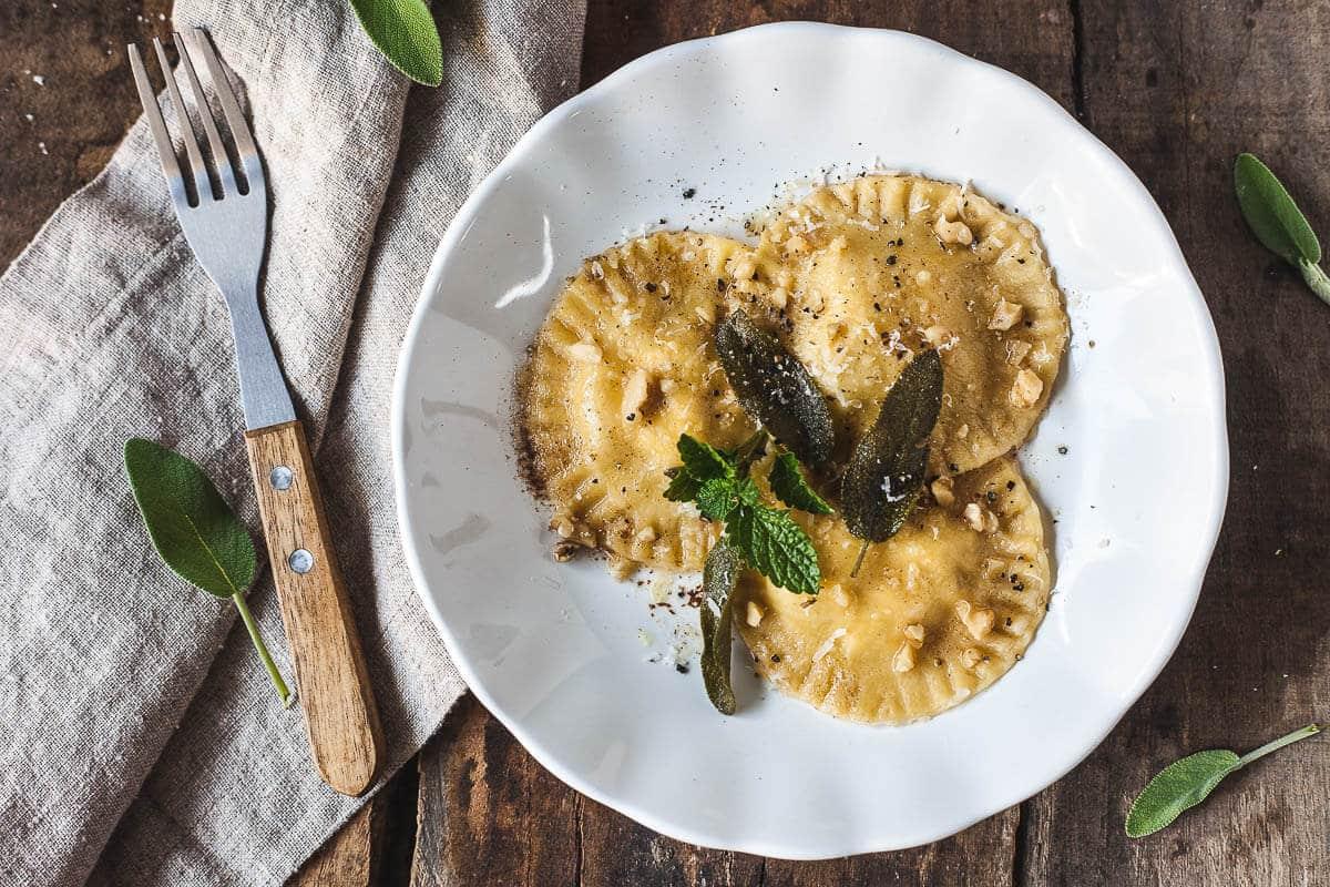 Smoked Ricotta Ravioli in Sage Butter Sauce