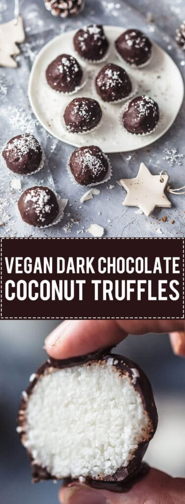 These amazing Vegan and Gluten-Free Dark Chocolate Coconut Truffles are pure bliss in every single bite!   Vibrant Plate