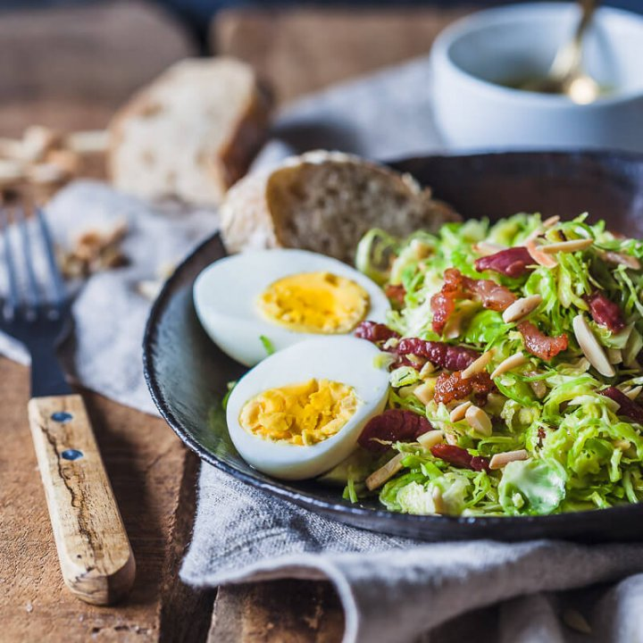 Brussels Sprout Salad with Bacon and Eggs