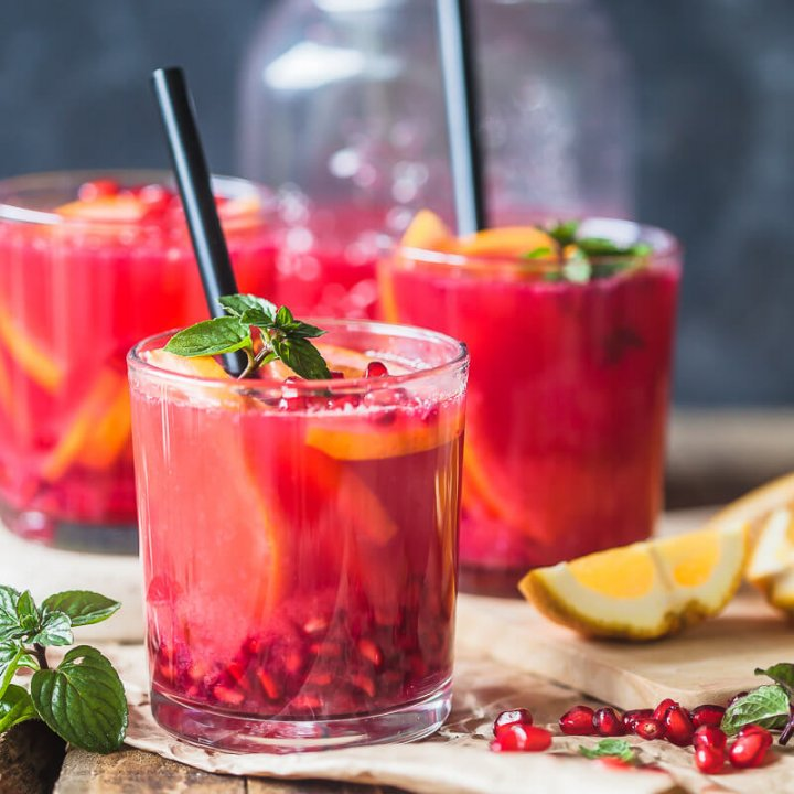 Homemade Healthy Orange and Pomegranate Juice