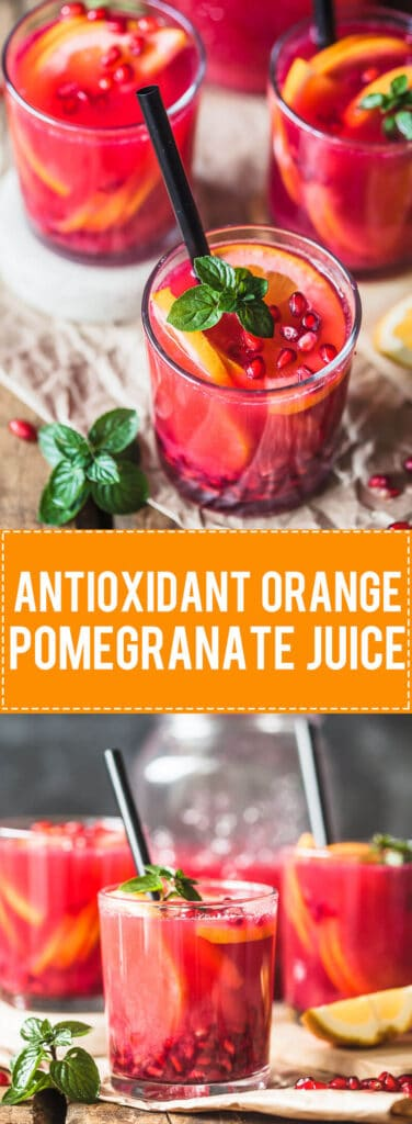 Antioxidant Orange Pomegranate Juice helps you get an instant vitamin boost! | Vibrant Plate