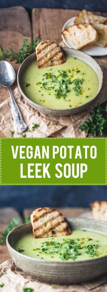 This Vegan Potato Leek Soup is creamy and filling, just the perfect soup for cold winter days! | Vibrant Plate