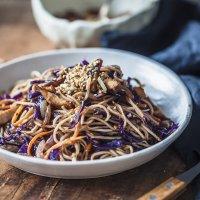 15-minute Purple Cabbage Chicken Lo Mein