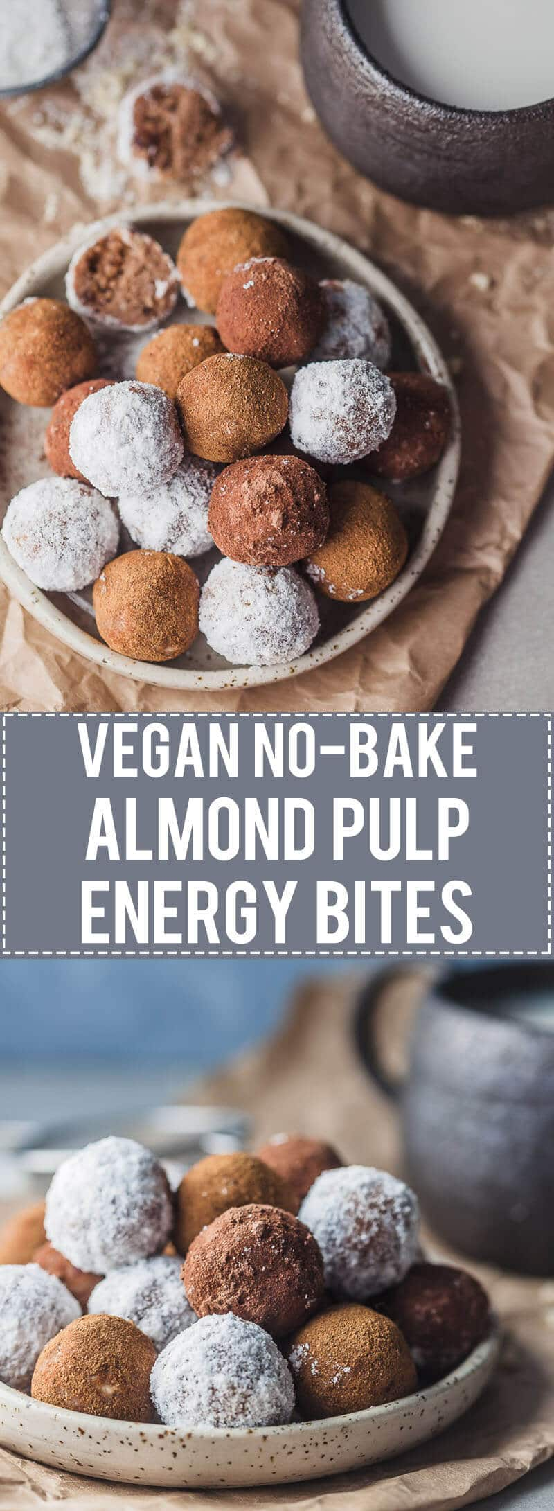 No-bake Almond Pulp Energy Bites are just perfect for using up leftover almonds from almond milk. Vegan & Gluten-Free!
