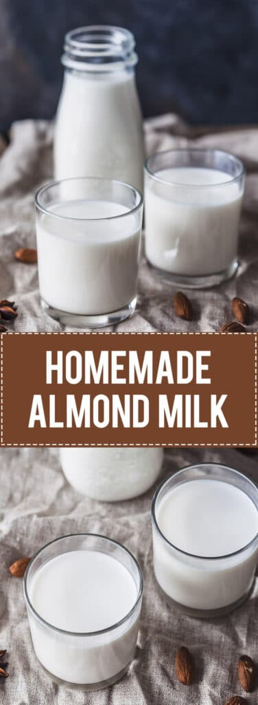 Homemade Almond Milk in just 5 minutes! This is a delicious Vegan & Gluten-Free plant-based milk and a great dairy-free alternative.   Vibrant Plate