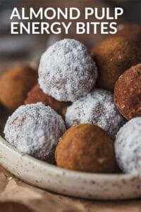 Closeup picture of almond pulp energy bites.