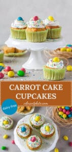 These cute Carrot Cake Cupcakes are a healthy & tasty treat or breakfast! Dairy-Free & Easy! | Vibrant Plate