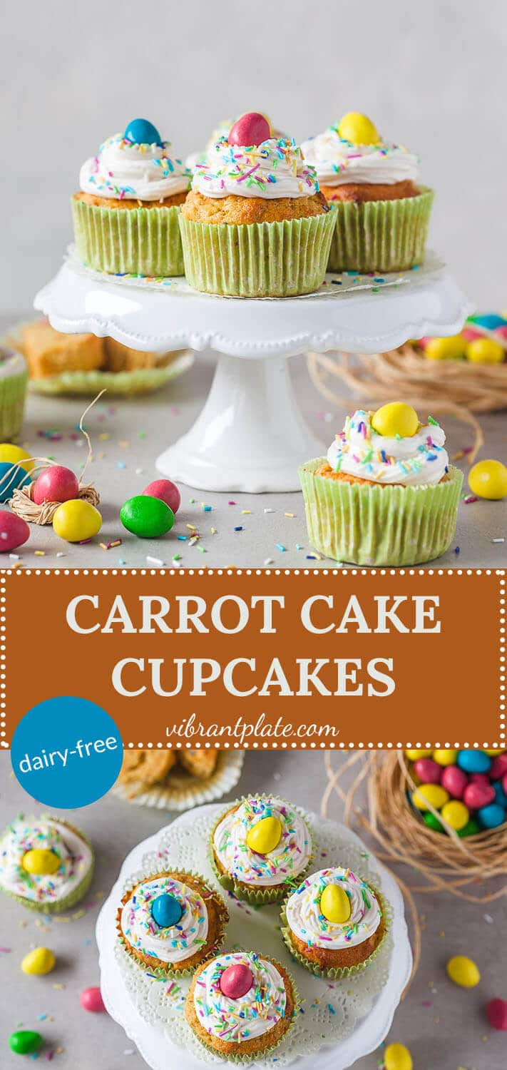 These cute Carrot Cake Cupcakes are dairy-free and absolutely delicious, with plenty of carrots and low on flour or sugar. A healthy tasty treat!