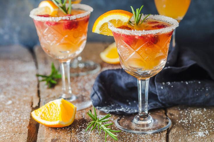Orange Raspberry Mimosa Cocktail Vibrant Plate