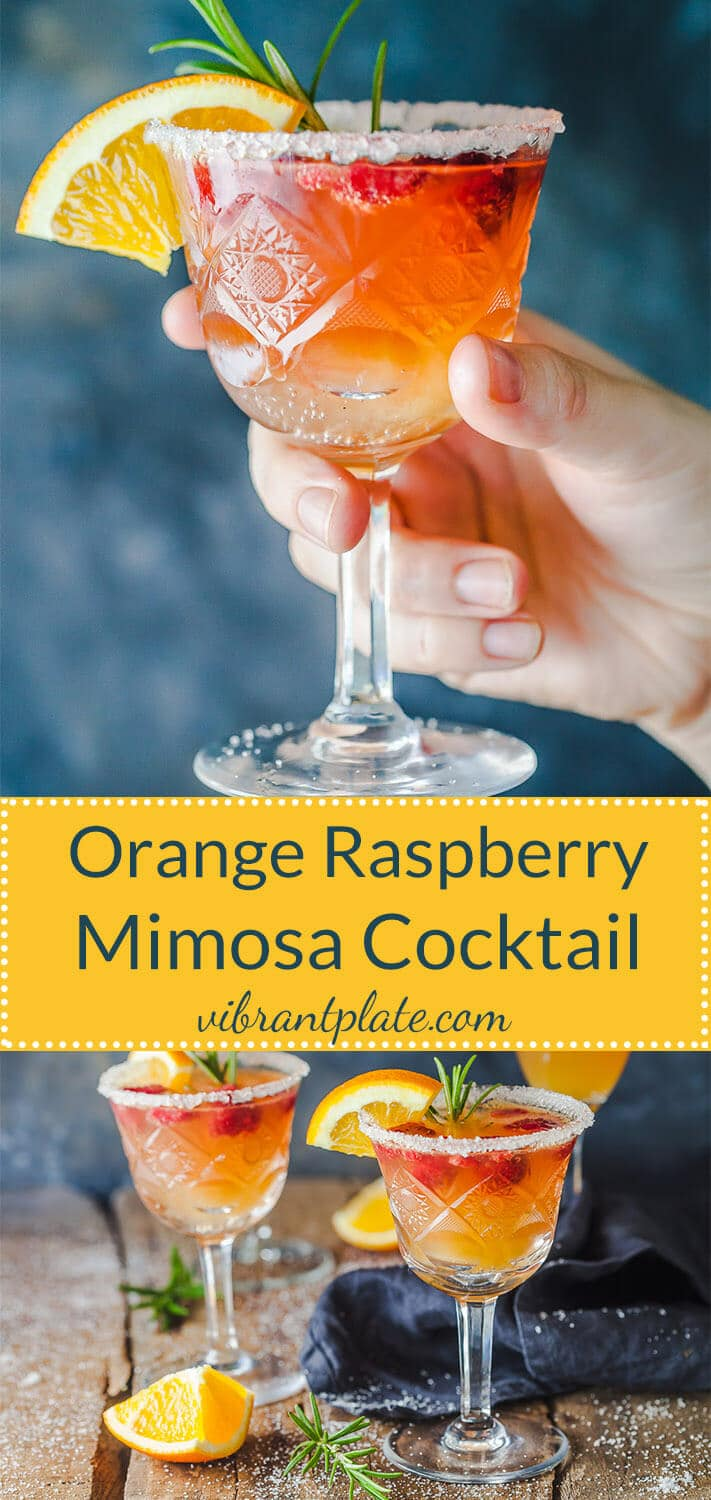 An excellent brunch drink, this Orange Raspberry Mimosa Cocktail is the perfect fit to celebrate the arrival of spring!