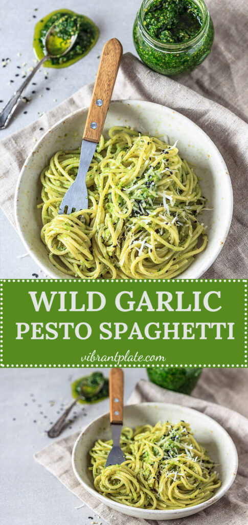A real spring treat! This Wild Garlic Pesto Spaghetti is a quick vegan comfort meal, ready in just 15 minutes! | Vibrant Plate