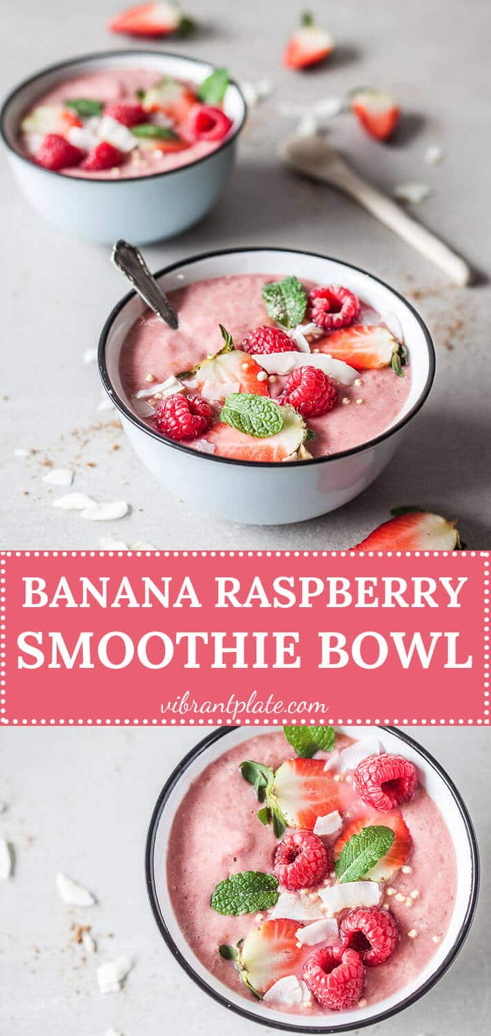 This colorful Banana Raspberry Smoothie Bowl is a vibrant vegan & gluten-free shot of vitamins!