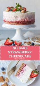 This No Bake Strawberry Cheesecake is the perfect dessert for hot summer days. A light and delicious treat! | Vibrant Plate
