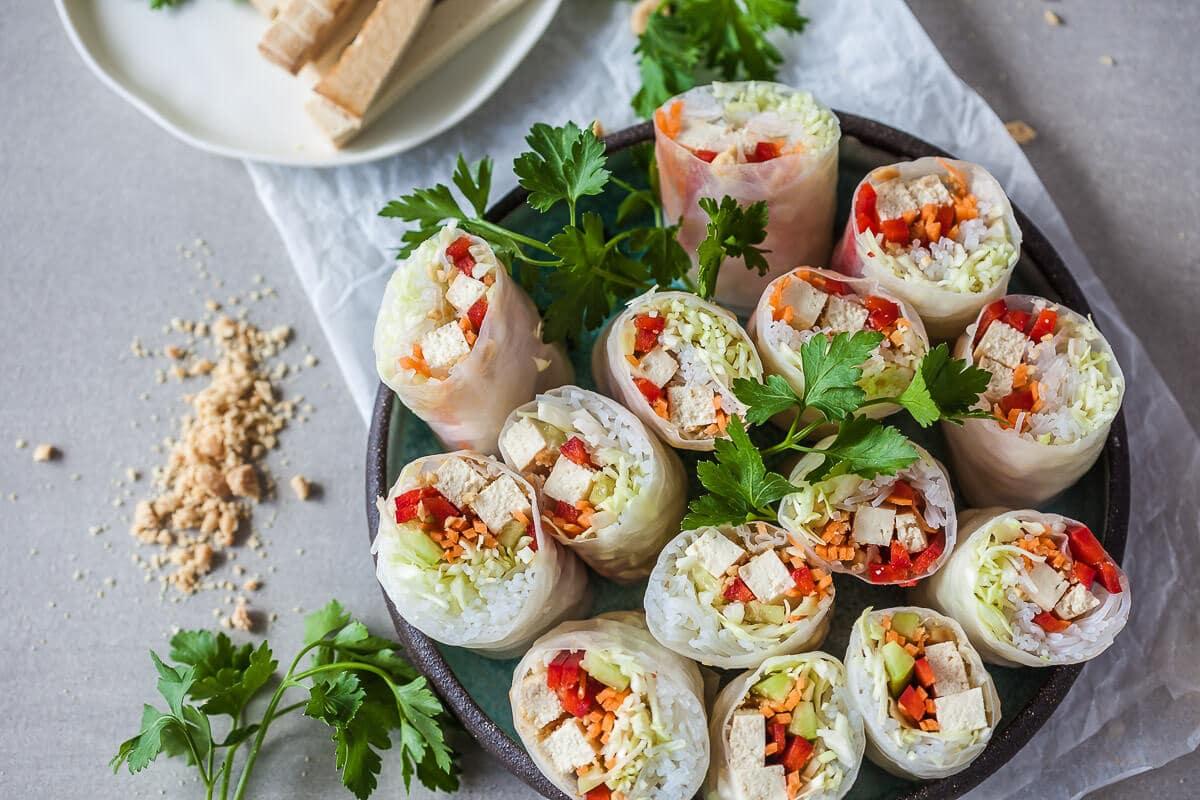 Vegan Tofu Spring Rolls with Peanut Dipping Sauce